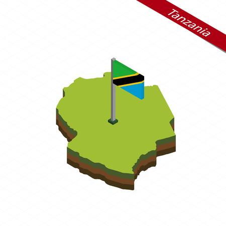 tanzania: Isometric map and flag of Tanzania. 3D isometric shape of Tanzania. Vector Illustration. Illustration