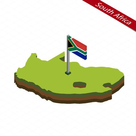 Isometric map and flag of South Africa. 3D isometric shape of South Africa. Vector Illustration.