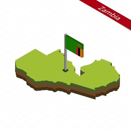 Isometric map and flag of Zambia. 3D isometric shape of Zambia. Vector Illustration.