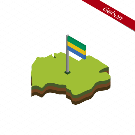 Isometric map and flag of Gabon. 3D isometric shape of Gabon. Vector Illustration.