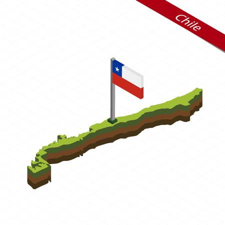 等尺性マップとチリの国旗。チリの 3 D アイソ メトリック形状。ベクトルの図。
