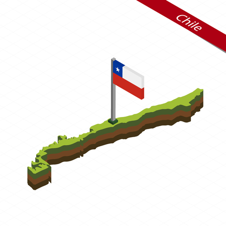Isometric map and flag of Chile. 3D isometric shape of Chile. Vector Illustration. Illustration
