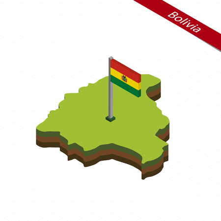 Isometric map and flag of Bolivia. 3D isometric shape of Bolivia. Vector Illustration.