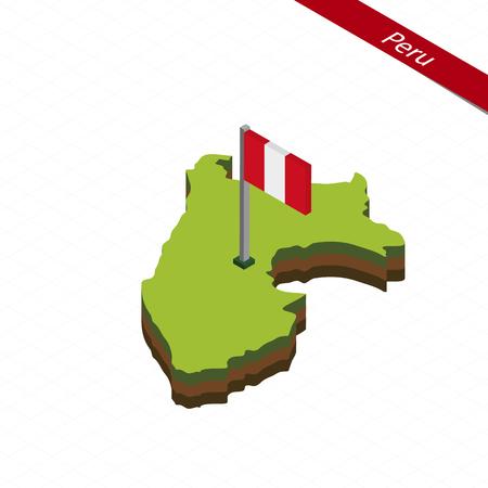 bandera de peru: Mapa isométrico y bandera del Perú. Forma isométrica 3D de Perú. Ilustración vectorial. Vectores