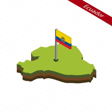 Isometric map and flag of Ecuador. 3D isometric shape of Ecuador. Vector Illustration.