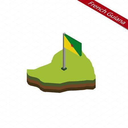 guyanese: Isometric map and flag of French Guiana. 3D isometric shape of French Guiana. Vector Illustration. Illustration