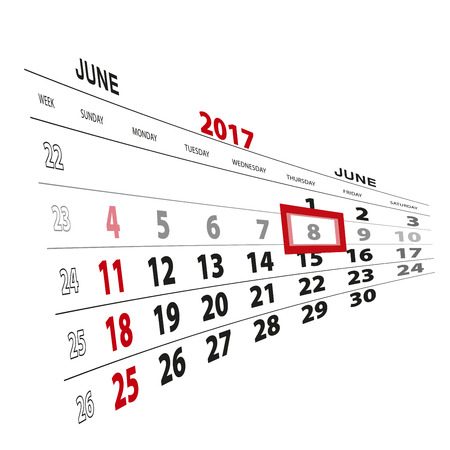beginnings: June 8, highlighted on 2017 calendar. Vector Illustration.