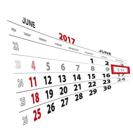 scheduler: June 10, highlighted on 2017 calendar. Vector Illustration.