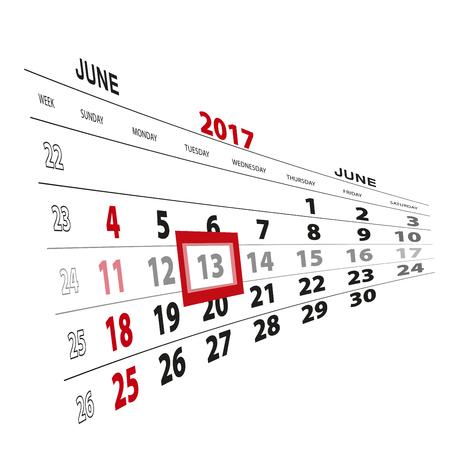 scheduler: June 13, highlighted on 2017 calendar. Vector Illustration.