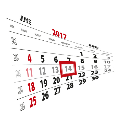beginnings: June 14, highlighted on 2017 calendar. Vector Illustration.