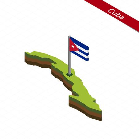 Isometric map and flag of Cuba. 3D isometric shape of Cuba. Vector Illustration.