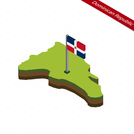 Isometric map and flag of Dominican Republic. 3D isometric shape of Dominican Republic. Vector Illustration.