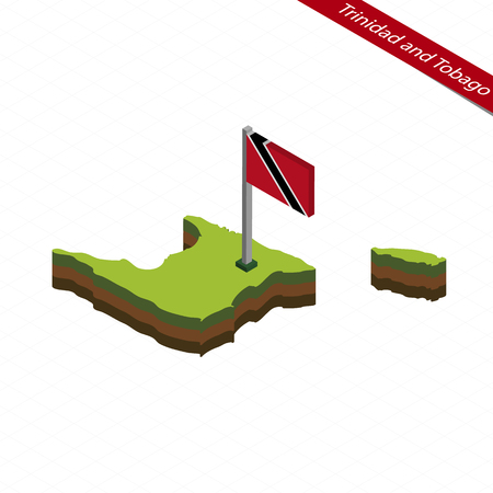 creole: Isometric map and flag of Trinidad and Tobago. 3D isometric shape of Trinidad and Tobago. Vector Illustration.