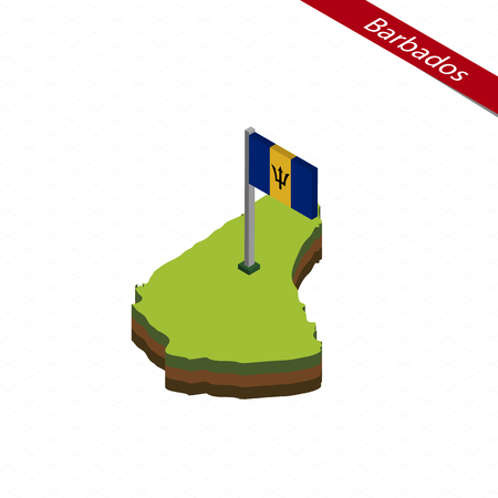 Isometric map and flag of Barbados. 3D isometric shape of Barbados. Vector Illustration. Çizim