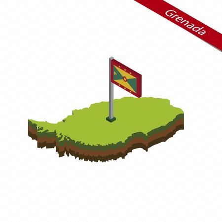 Isometric map and flag of Grenada. 3D isometric shape of Grenada. Vector Illustration.