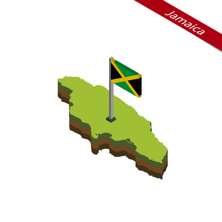 Isometric map and flag of Jamaica. 3D isometric shape of Jamaica. Vector Illustration. Illustration