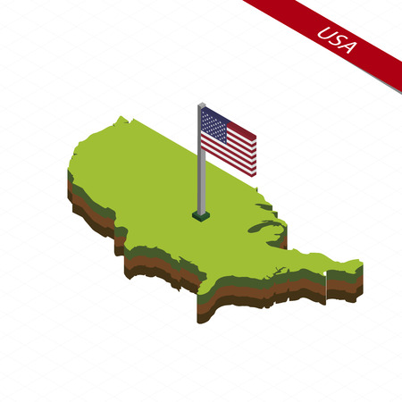 Isometric map and flag of USA. 3D isometric shape of United States of America. Vector Illustration. Illustration