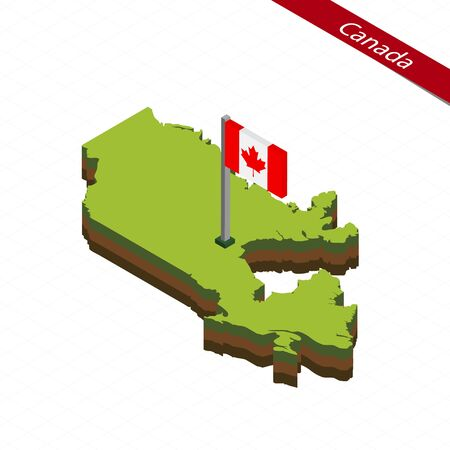 Isometric map and flag of Canada. 3D isometric shape of Canada. Vector Illustration.