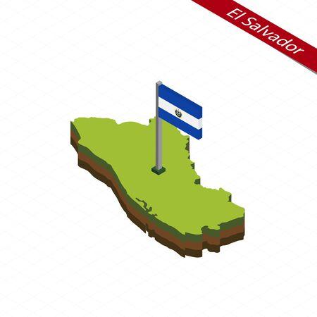 bandera de el salvador: Mapa isométrico y bandera de El Salvador. Forma isométrica 3D de El Salvador. Ilustración vectorial