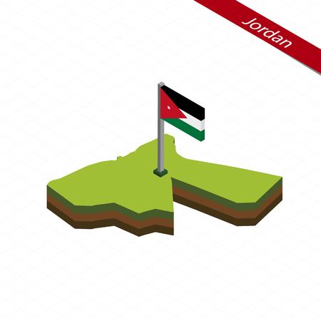 Isometric map and flag of Jordan. 3D isometric shape of Jordan. Vector Illustration.