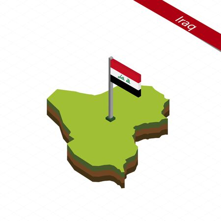 Isometric map and flag of Iraq. 3D isometric shape of Iraq. Vector Illustration.