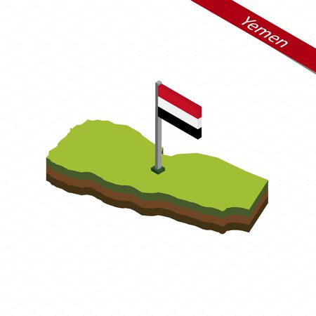 yemen: Isometric map and flag of Yemen. 3D isometric shape of Yemen. Vector Illustration. Illustration