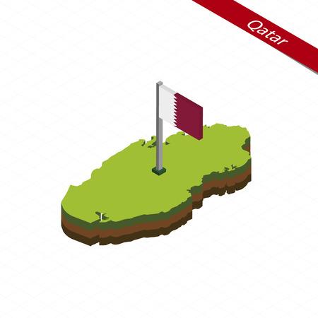 Isometric map and flag of Qatar. 3D isometric shape of Qatar Vector Illustration.