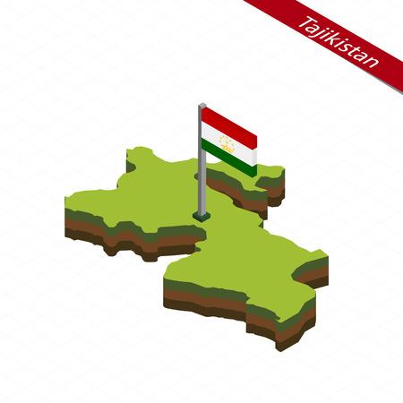 Isometric map and flag of Tajikistan. 3D isometric shape of Tajikistan. Vector Illustration.