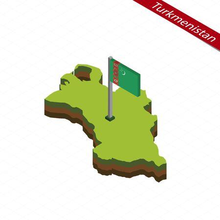 Isometric map and flag of Turkmenistan. 3D isometric shape of Turkmenistan. Vector Illustration. Illustration