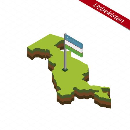 Isometric map and flag of Uzbekistan. 3D isometric shape of Uzbekistan. Vector Illustration.