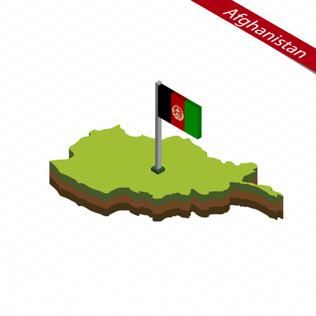 Isometric map and flag of Afghanistan. 3D isometric shape of Afghanistan. Vector Illustration.