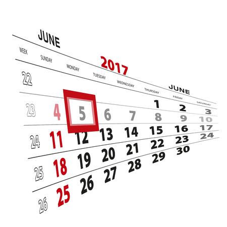 scheduler: June 5, highlighted on 2017 calendar. Vector Illustration.