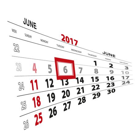 scheduler: June 6, highlighted on 2017 calendar. Vector Illustration.