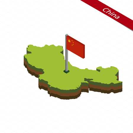 Isometric map and flag of China. 3D isometric shape of China. Vector Illustration.