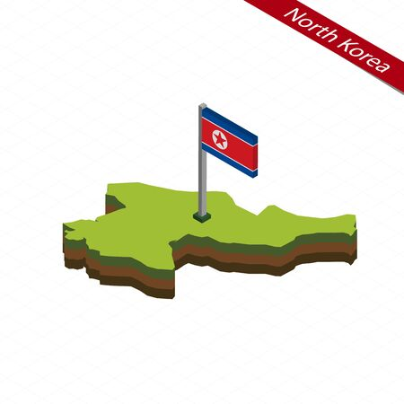 Isometric map and flag of North Korea. 3D isometric shape of North Korea. Vector Illustration.