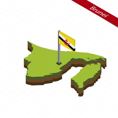 Isometric map and flag of Brunei. 3D isometric shape of Brunei. Vector Illustration.