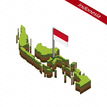 Isometric map and flag of Indonesia. 3D isometric shape of Indonesia. Vector Illustration. Stock Illustratie