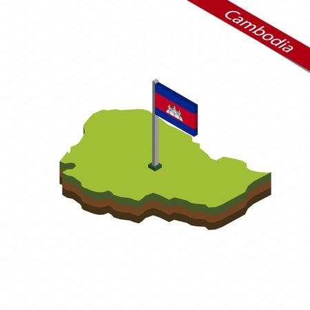 indochina peninsula: Isometric map and flag of Cambodia. 3D isometric shape of Cambodia. Vector Illustration.