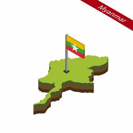 burmese: Isometric map and flag of Myanmar. 3D isometric shape of Myanmar. Vector Illustration.