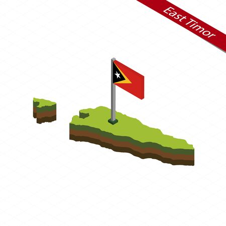 Isometric map and flag of East Timor. 3D isometric shape of East Timor. Vector Illustration. Illustration