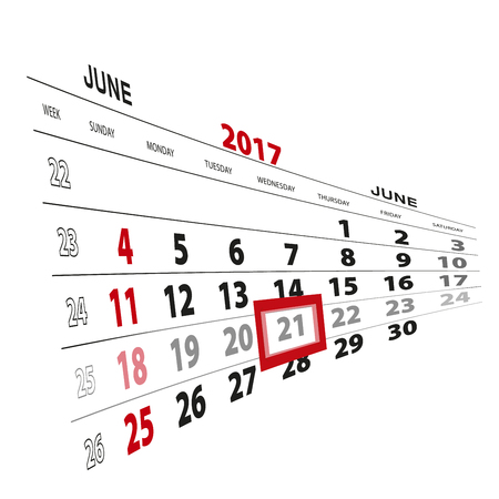 beginnings: June 21, highlighted on 2017 calendar. Vector Illustration.