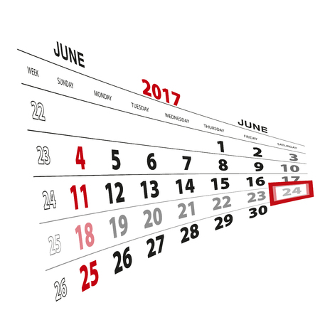 beginnings: June 24, highlighted on 2017 calendar. Vector Illustration. Illustration