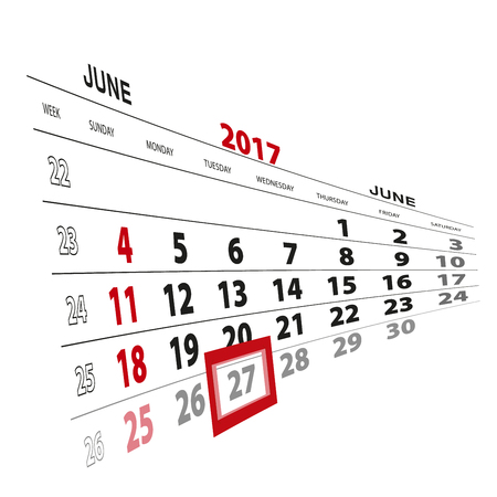 beginnings: June 27, highlighted on 2017 calendar. Vector Illustration. Illustration
