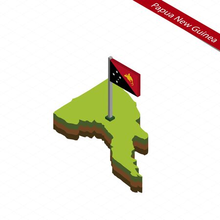 Isometric map and flag of Papua New Guinea. 3D isometric shape of Papua New Guinea. Vector Illustration.