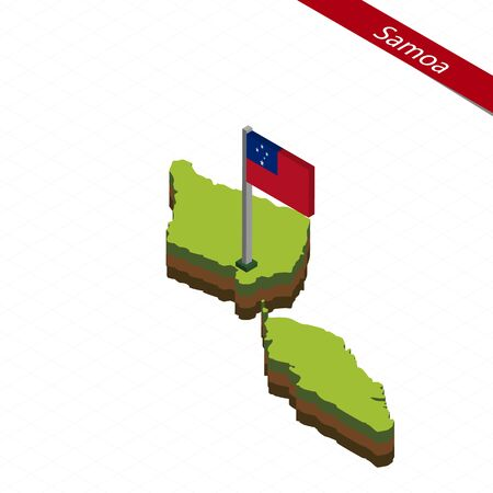 Isometric map and flag of Samoa. 3D isometric shape of Samoa. Vector Illustration.
