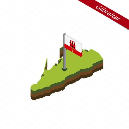 isles: Isometric map and flag of Gibraltar. 3D isometric shape of Gibraltar. Vector Illustration. Illustration