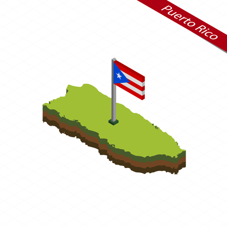 Isometric map and flag of Puerto Rico. 3D isometric shape of Puerto Rico. Vector Illustration.