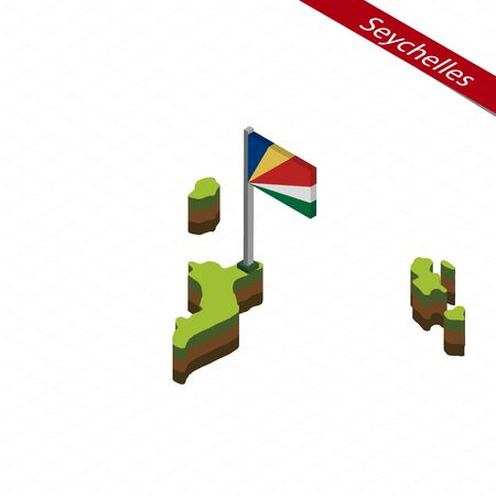 Isometric map and flag of Seychelles. 3D isometric shape of Seychelles. Vector Illustration. Çizim