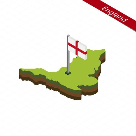 Isometric map and flag of England. 3D isometric shape of England. Vector Illustration.