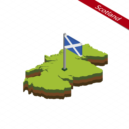 gaelic: Isometric map and flag of Scotland. 3D isometric shape of Scotland. Vector Illustration.